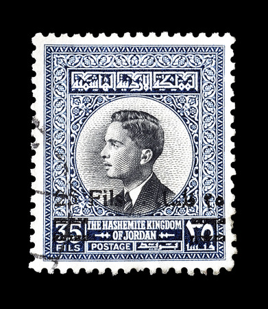 king hussein: Cancelled postage stamp printed by Jordan, that shows King Hussein, circa 1963.