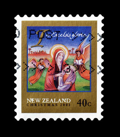 christmas motive: Cancelled postage stamp printed by New Zealand, that shows Christmas motive, circa 2001.