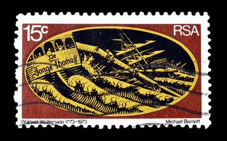 breaking up: Cancelled postage stamp printed by South Africa, that shows Sailing ship breaking up, circa 1973.