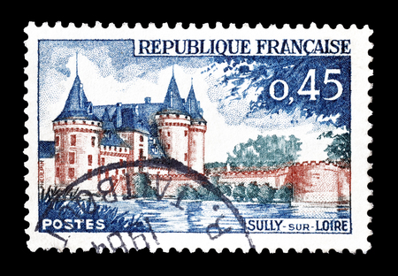 sully: Cancelled postage stamp printed by France, that shows Sully sur Loire chateau, circa 1961.