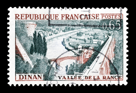 rance: Cancelled postage stamp printed by France, that shows Rance Valley and Dinan, circa 1961. Editorial