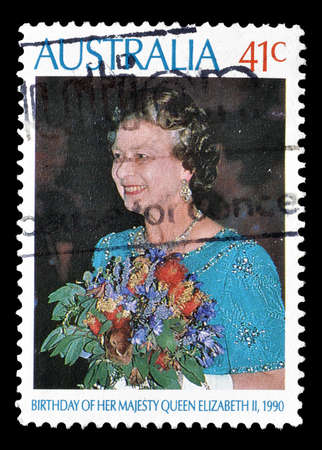 australia stamp: Cancelled postage stamp printed by Australia, that shows Queen Elizabeth II, circa 1990.