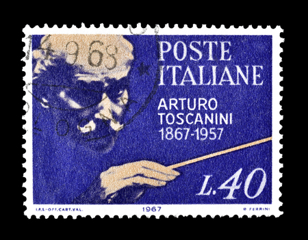 arturo: Cancelled postage stamp printed by Italy, that shows Arturo Toscanini, circa 1967.