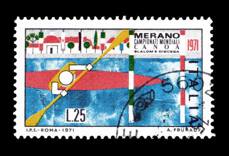 promotes: Cancelled postage stamp printed by Italy, that promotes World Canoeing Championships, circa 1971.
