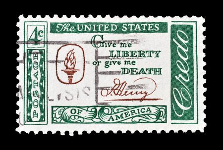 patrick: Cancelled postage stamp printed by USA, that shows Patrick Henry Quotation, circa 1960.