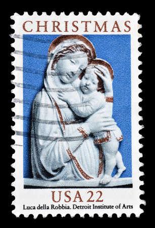 christmas motive: Cancelled postage stamp printed by USA, that shows Christmas motive, circa 1985.
