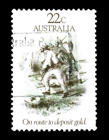 diggers: Cancelled postage stamp printed by Australia, that shows Gold diggers, circa 1981. Editorial