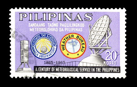 promotes: Cancelled postage stamp printed by Philippines, that promotes Meteorological service, circa 1965.