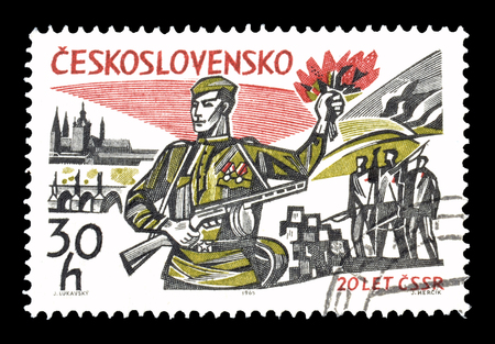 philately: Cancelled postage stamp printed by Czechoslovakia, that shows Soldiers, circa 1965. Editorial