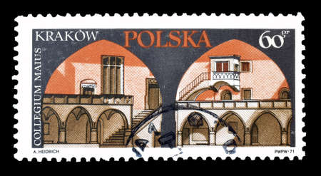 collegium: Cancelled postage stamp printed by Poland, that shows Collegium Maius in Cracow, circa 1971. Editorial