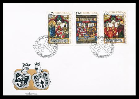 liechtenstein: First day cover letter printed by Liechtenstein, that shows Heraldic panels, circa 1979. Editorial