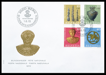artifacts: First day cover letter printed by Switzerland, that shows museum artifacts, circa 1972.