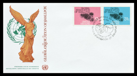 smallpox: First day cover letter printed by UN, that promotes eradication of smallpox, circa 1978.