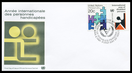 un: First day cover letter printed by UN, for the disabled persons, circa 1981. Editorial