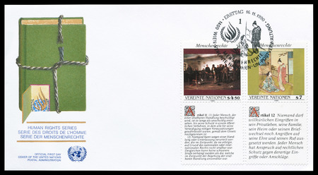 un: First day cover letter printed by UN, that promotes Human rights, circa 1990. Editorial