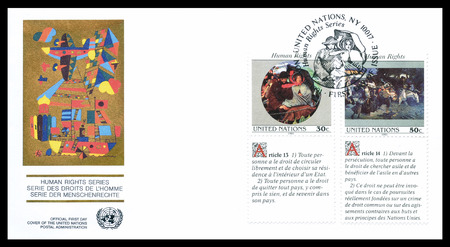 promotes: First day cover letter printed by UN, that promotes Human rights, circa 1991.