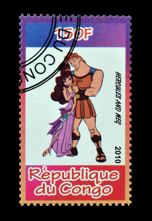 postage: Cancelled postage stamp printed by Congo, that shows Hercules and Meg, circa 2010.