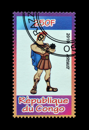 postage: Cancelled postage stamp printed by Congo, that shows Hercules, circa 2010.