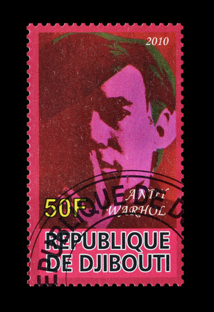 andy warhol: Cancelled postage stamp printed by Djibouti, that shows Andy Warhol, circa 2010.