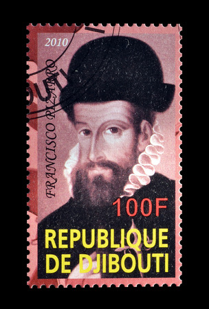pizarro: Cancelled postage stamp printed by Djibouti, that shows Francisco Pizarro, circa 2010. Editorial