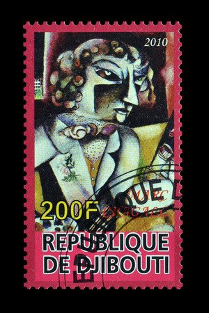 chagall: Cancelled postage stamp printed by Djibouti, that shows painting by Marc Chagall, circa 2010.