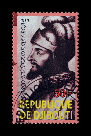philately: Cancelled postage stamp printed by Djibouti, that shows Nunez de Balboa, circa 2010. Editorial