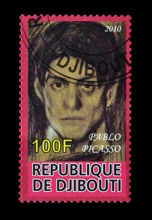 pablo: Cancelled postage stamp printed by Djibouti, that shows painting by Pablo Picaso, circa 2010.
