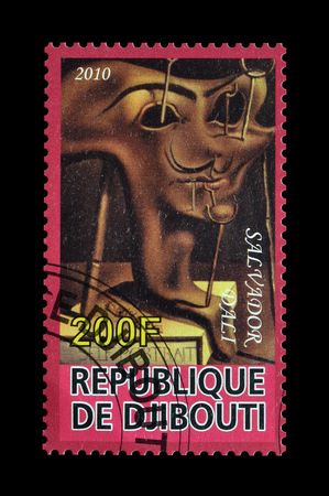 salvador dali: Cancelled postage stamp printed by Djibouti, that shows painting by Salvador Dali, circa 2010. Editorial