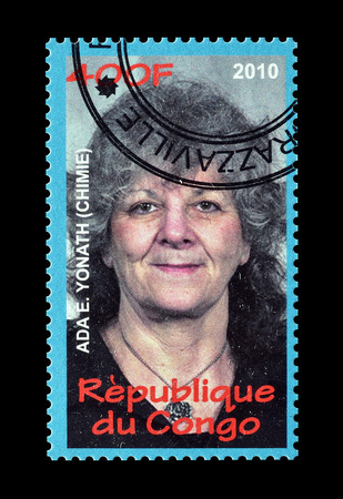 philately: Cancelled postage stamp printed by Congo, that shows Ada Yonath, circa 2010.