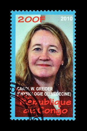 philately: Cancelled postage stamp printed by Congo, that shows Carol Greider, circa 2010. Editorial