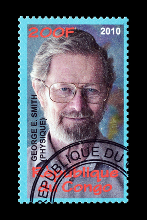 philately: Cancelled postage stamp printed by Congo, that shows George Smith, circa 2010.