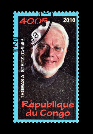 postage: Cancelled postage stamp printed by Congo, that shows Thomas Steitz, circa 2010.