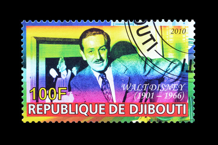 postage: Cancelled postage stamp printed by Djibouti, that shows Walt Disney, circa 2010.