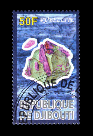 rubellite: Cancelled postage stamp printed by Djibouti, that shows Rubellite, circa 2010.