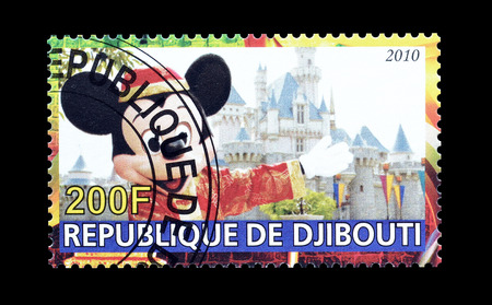 postage: Cancelled postage stamp printed by Djibouti, that shows Disney world, circa 2010. Editorial