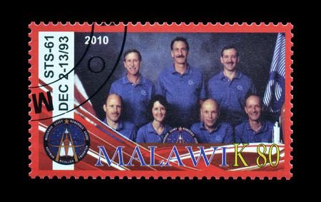 postage: Cancelled postage stamp printed by Malawi, that shows astronauts, circa 2010. Editorial