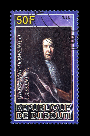 philately: Cancelled postage stamp printed by Djibouti, that shows Domenico Cassini, circa 2010.
