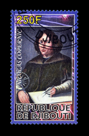 nicolas: Cancelled postage stamp printed by Djibouti, that shows Nicolas Copernic, circa 2010. Editorial