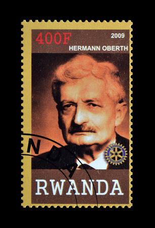 herman: Cancelled postage stamp printed by Rwanda, that shows Hermann Oberth, circa 2009. Editorial