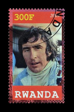 rwanda: Cancelled postage stamp printed by Rwanda, that shows Jackie Stewart, circa 2009.