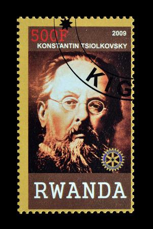 philately: Cancelled postage stamp printed by Rwanda, that shows Konstantin Tsiolkovski, circa 2009.