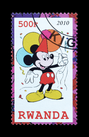 Cancelled postage stamp printed by Rwanda, that shows Mickey Mouse, circa 2010.