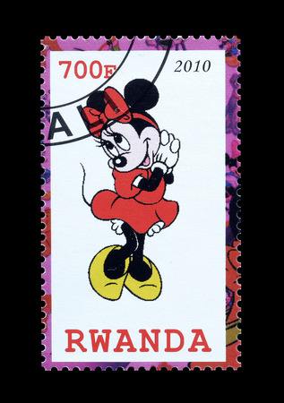 rwanda: Cancelled postage stamp printed by Rwanda, that shows Minnie, circa 2010.