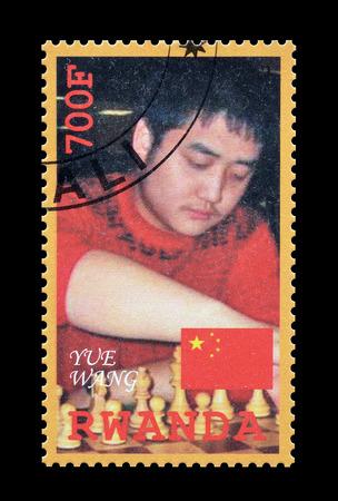wang: Cancelled postage stamp printed by Rwanda, that shows Yue Wang, circa 2010. Editorial