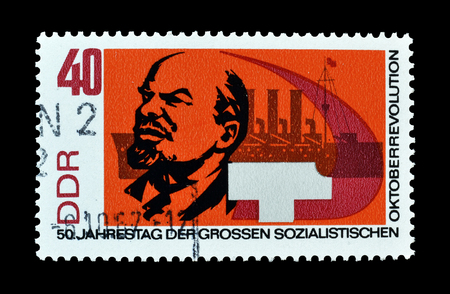 lenin: Cancelled postage stamp printed by German Democratic Republic, that shows Lenin, circa 1967.