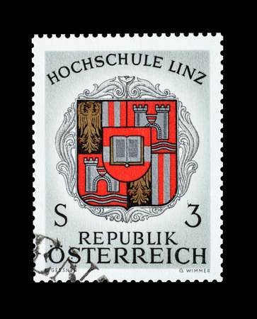 linz: Cancelled postage stamp printed by Austria, that shows  Coat of arms of Linz College, circa 1966.