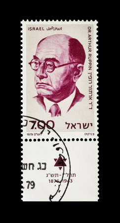 arthur: Cancelled postage stamp printed by Israel, that shows Dr Arthur Ruppin, circa 1979.
