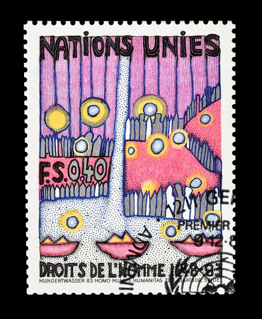 un: Cancelled postage stamp printed by UN, that shows drawing promoting Human rights, circa 1983.