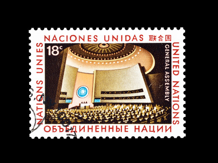 nations: Cancelled postage stamp printed by United Nations, that shows Great Assembly, circa 1978.