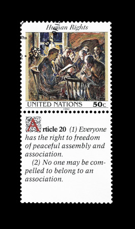 promotes: Cancelled postage stamp printed by United Nations, that promotes Human rights, circa 1992.